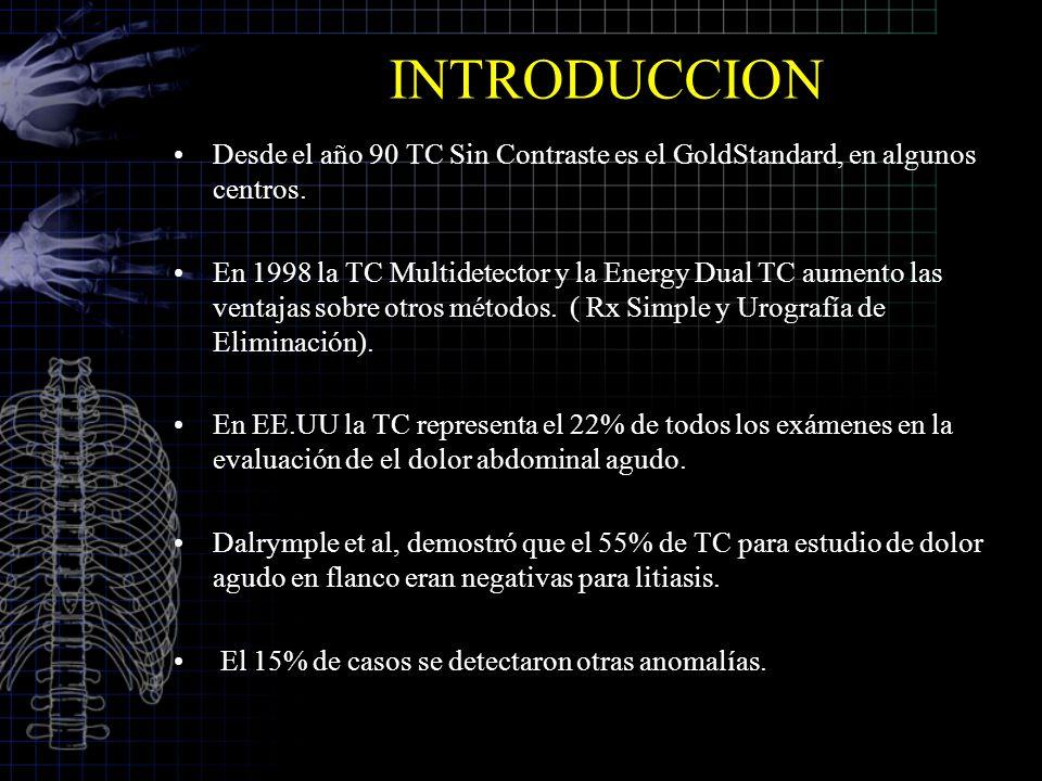 INTRODUCCION Desde el año 90 TC Sin Contraste es el GoldStandard, en algunos centros.