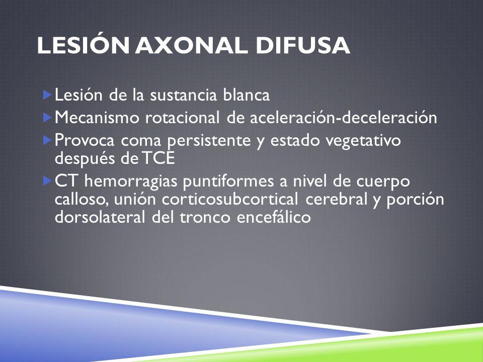Lesión axonal difusa Lesión de la sustancia blanca
