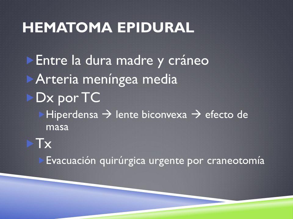 Entre la dura madre y cráneo Arteria meníngea media Dx por TC
