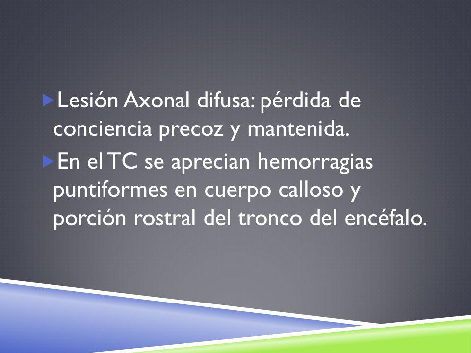 Lesión Axonal difusa: pérdida de conciencia precoz y mantenida.