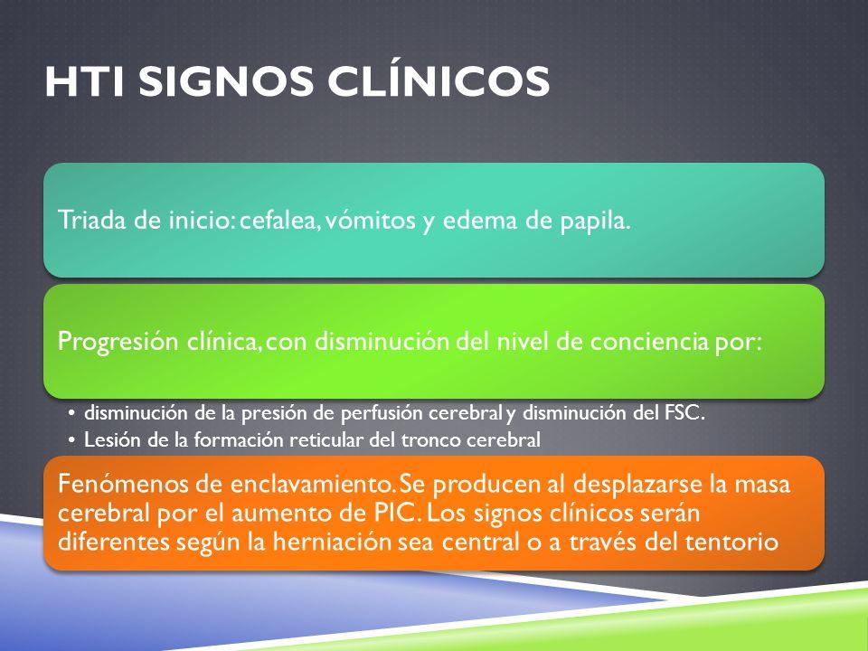 HTI signos clínicos Triada de inicio: cefalea, vómitos y edema de papila. Progresión clínica, con disminución del nivel de conciencia por: