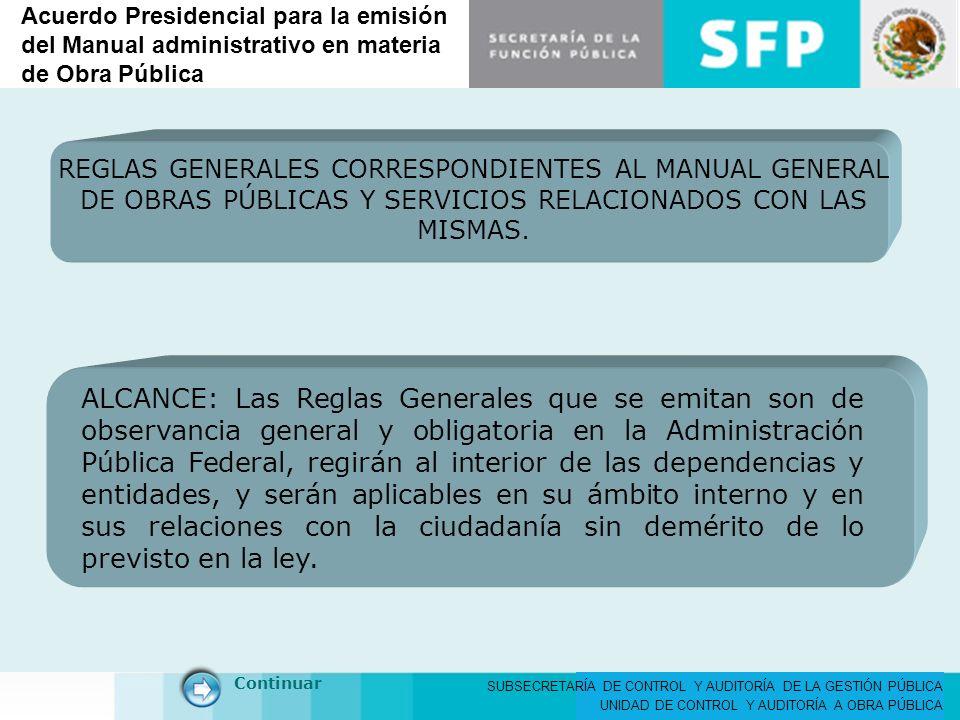 Acuerdo Presidencial para la emisión del Manual administrativo en materia de Obra Pública
