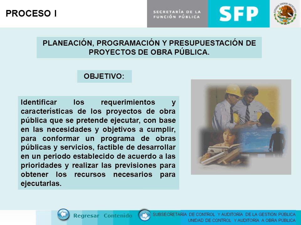 PROCESO I PLANEACIÓN, PROGRAMACIÓN Y PRESUPUESTACIÓN DE PROYECTOS DE OBRA PÚBLICA. OBJETIVO: