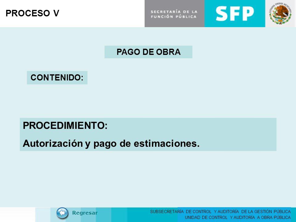 Autorización y pago de estimaciones.