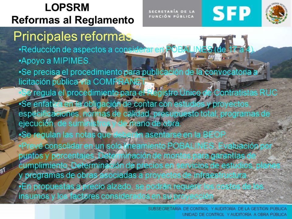 LOPSRM Reformas al Reglamento