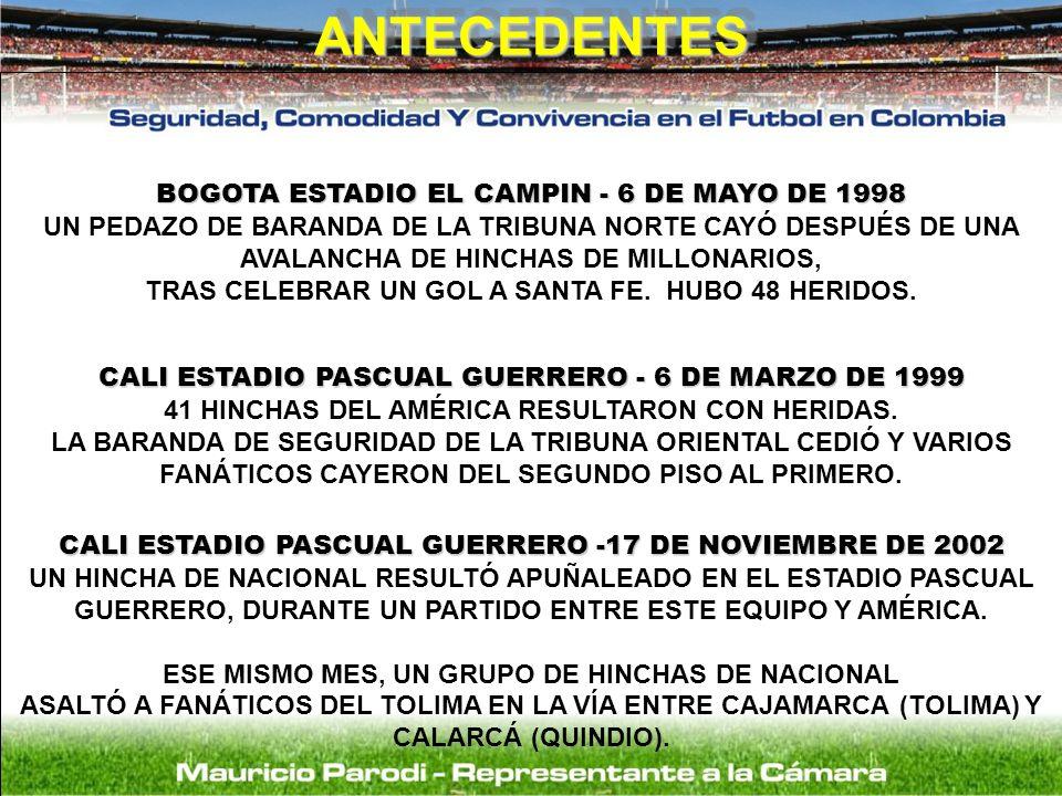ANTECEDENTES BOGOTA ESTADIO EL CAMPIN - 6 DE MAYO DE 1998