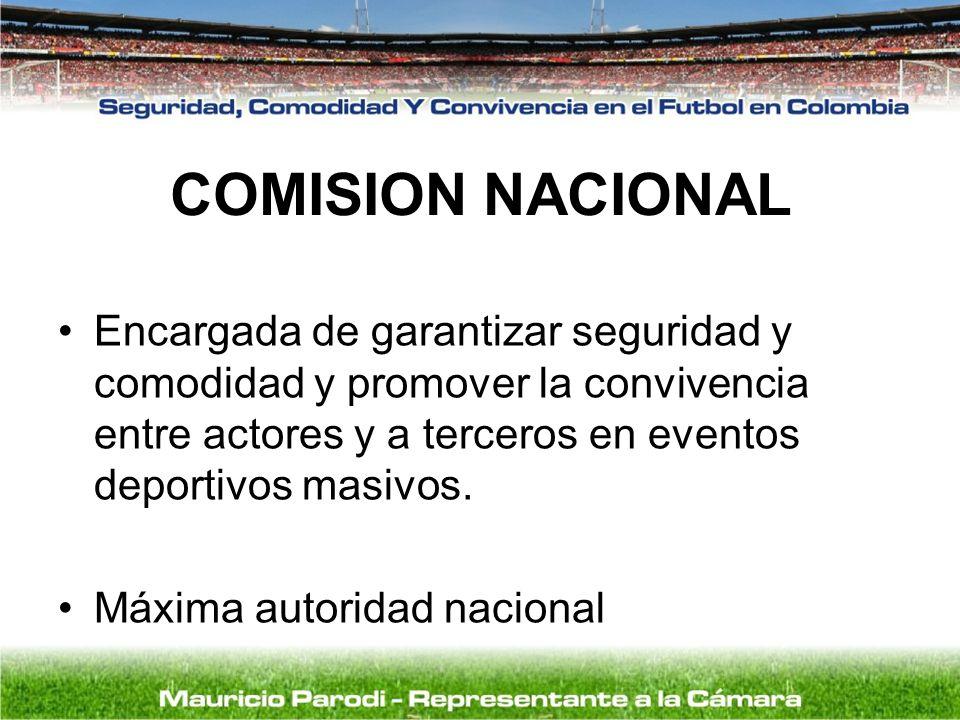 COMISION NACIONAL Encargada de garantizar seguridad y comodidad y promover la convivencia entre actores y a terceros en eventos deportivos masivos.