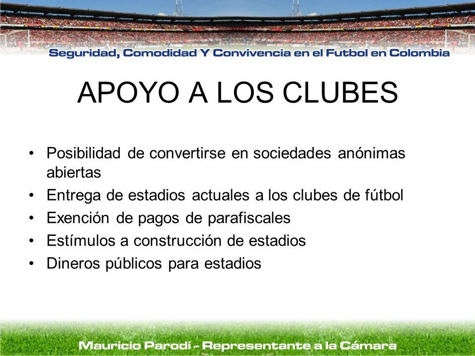 APOYO A LOS CLUBES Posibilidad de convertirse en sociedades anónimas abiertas. Entrega de estadios actuales a los clubes de fútbol.