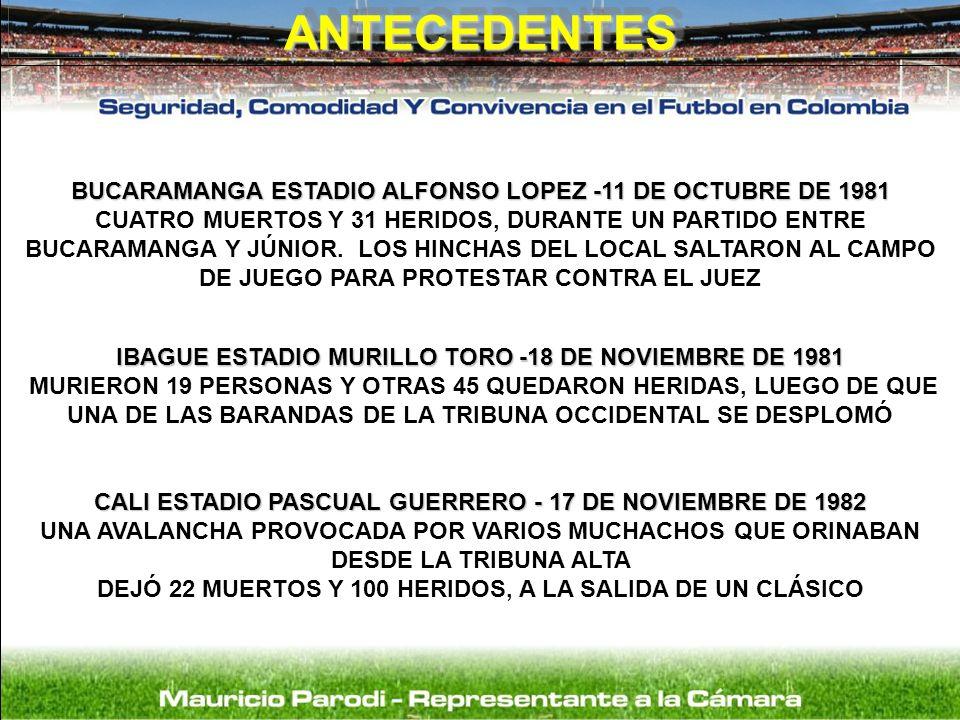 ANTECEDENTES BUCARAMANGA ESTADIO ALFONSO LOPEZ -11 DE OCTUBRE DE 1981