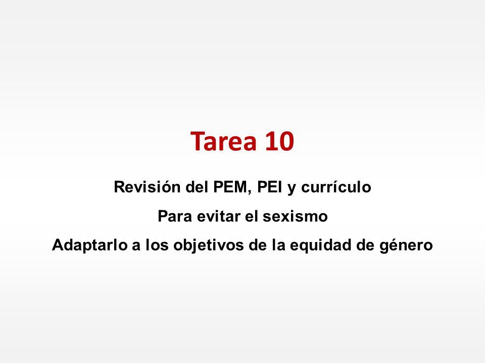 Tarea 10 Revisión del PEM, PEI y currículo Para evitar el sexismo