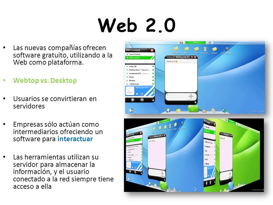 Web 2.0 Las nuevas compañías ofrecen software gratuito, utilizando a la Web como plataforma. Webtop vs. Desktop.