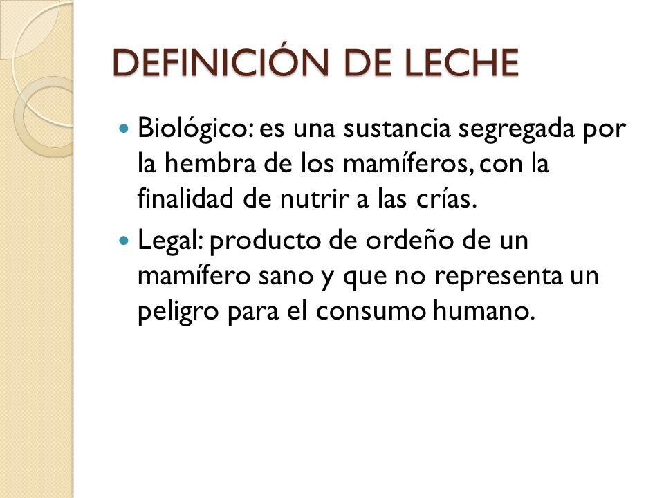 DEFINICIÓN DE LECHE Biológico: es una sustancia segregada por la hembra de los mamíferos, con la finalidad de nutrir a las crías.