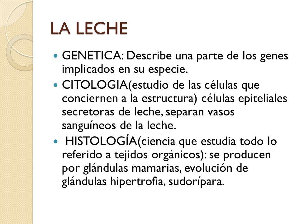 LA LECHE GENETICA: Describe una parte de los genes implicados en su especie.