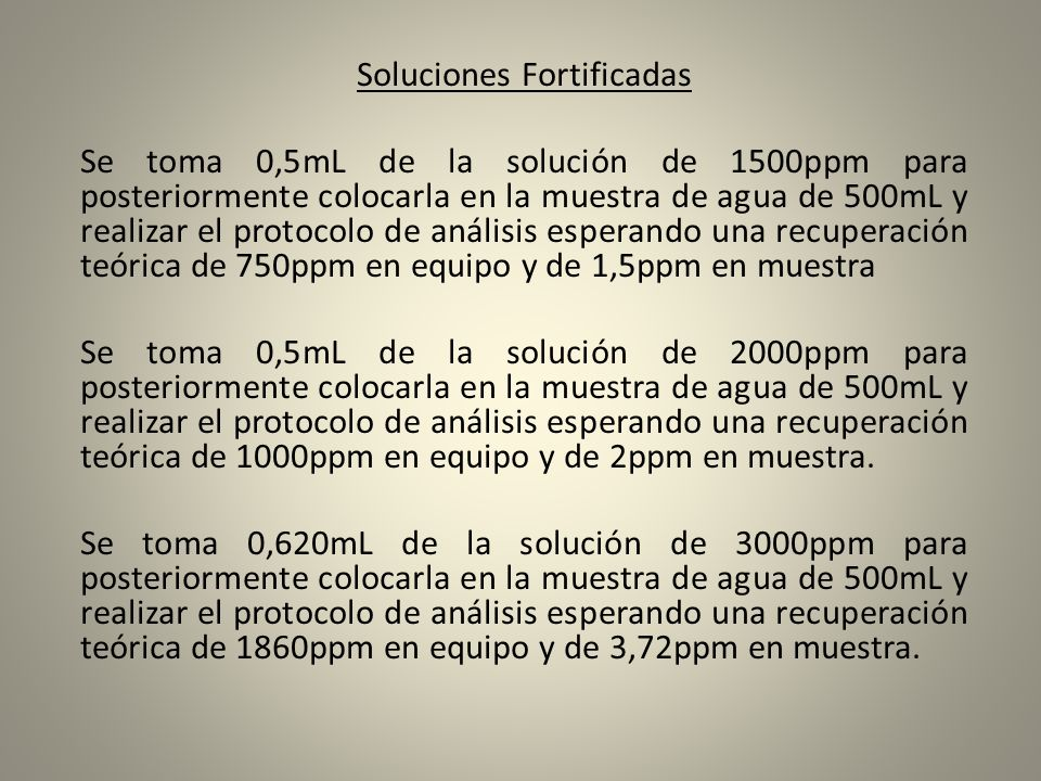 Soluciones Fortificadas
