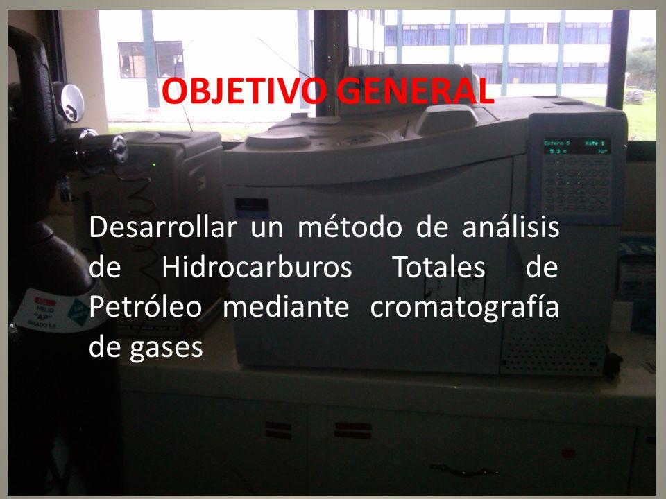 OBJETIVO GENERAL Desarrollar un método de análisis de Hidrocarburos Totales de Petróleo mediante cromatografía de gases.