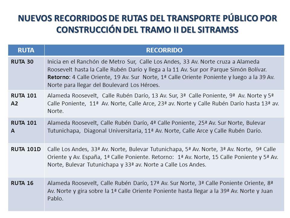 NUEVOS RECORRIDOS DE RUTAS DEL TRANSPORTE PÚBLICO POR CONSTRUCCIÓN DEL TRAMO II DEL SITRAMSS