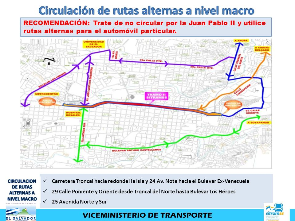 Circulación de rutas alternas a nivel macro
