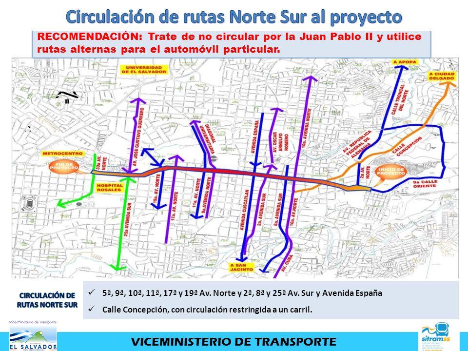 Circulación de rutas Norte Sur al proyecto