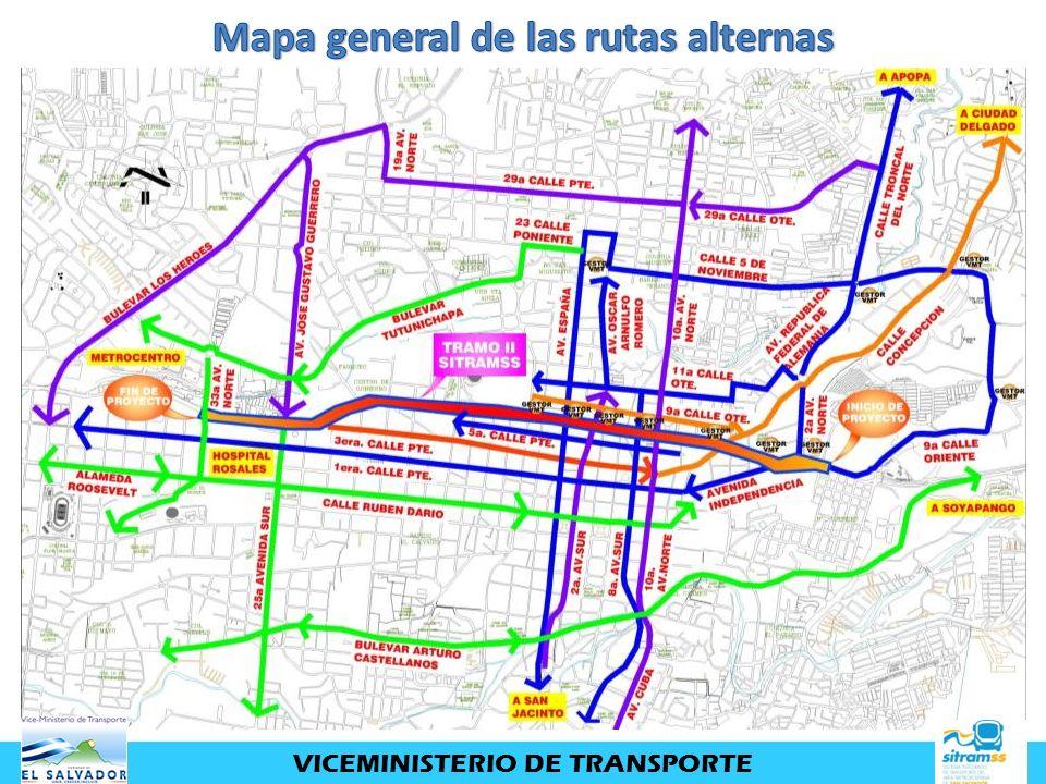 Mapa general de las rutas alternas