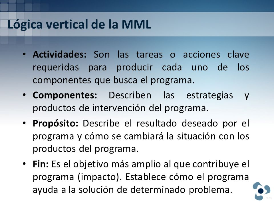 Lógica vertical de la MML
