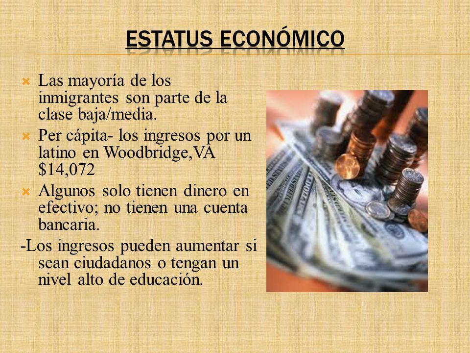 Estatus Económico Las mayoría de los inmigrantes son parte de la clase baja/media. Per cápita- los ingresos por un latino en Woodbridge,VA $14,072.