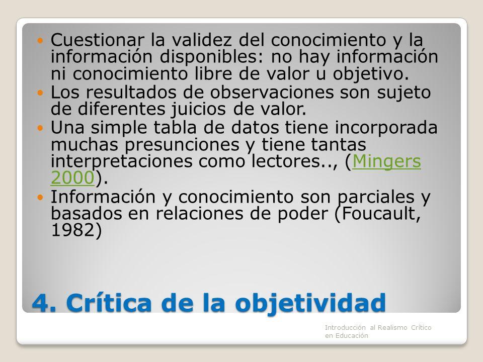 4. Crítica de la objetividad