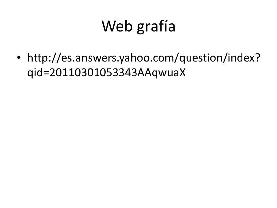Web grafía http://es.answers.yahoo.com/question/index qid=20110301053343AAqwuaX