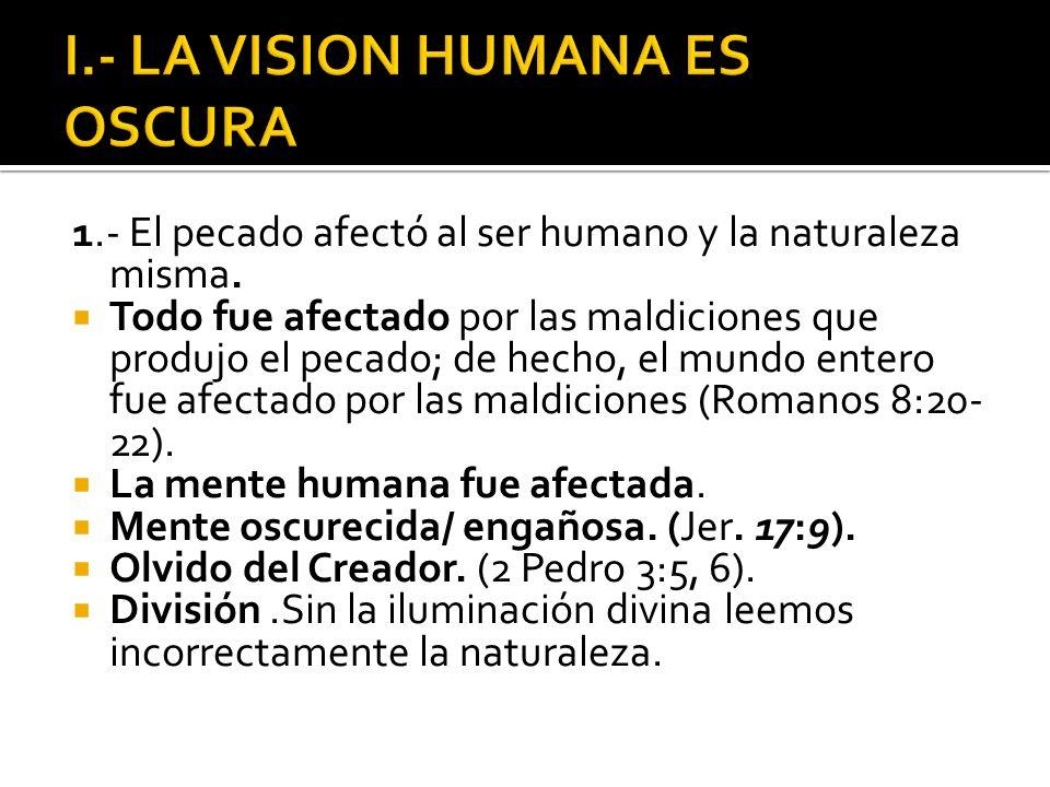 I.- LA VISION HUMANA ES OSCURA