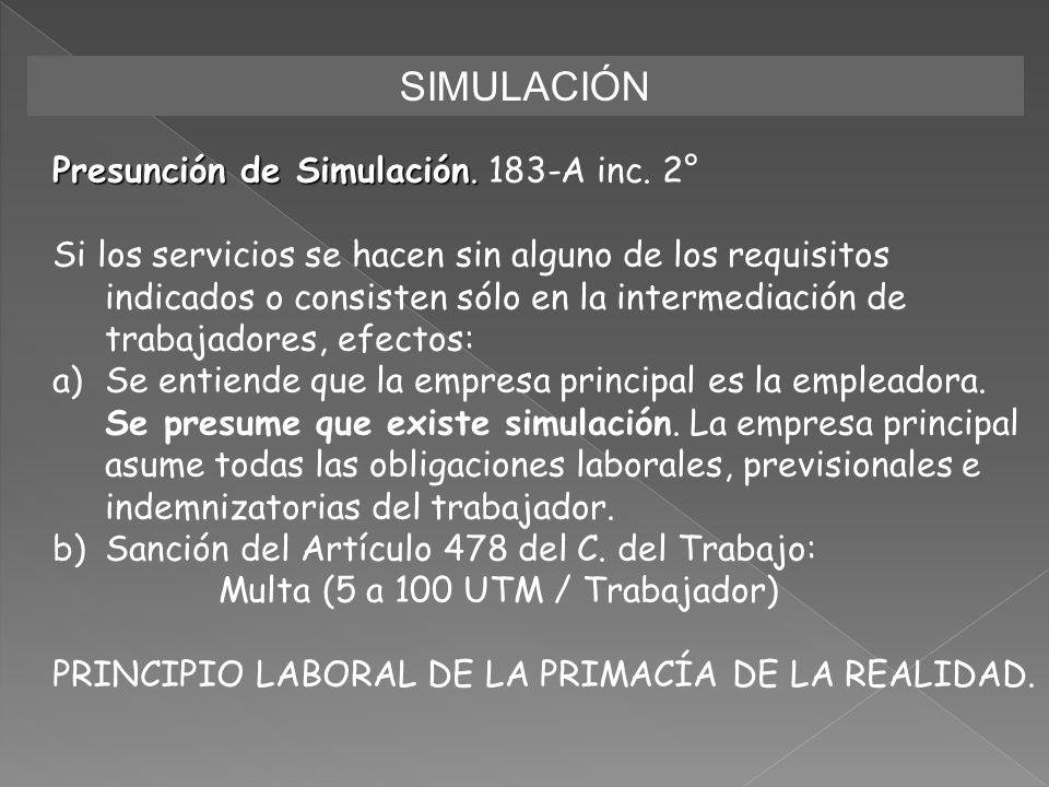 SIMULACIÓN Presunción de Simulación. 183-A inc. 2°