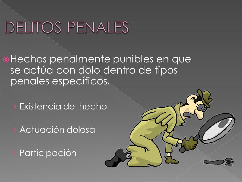 DELITOS PENALES Hechos penalmente punibles en que se actúa con dolo dentro de tipos penales específicos.