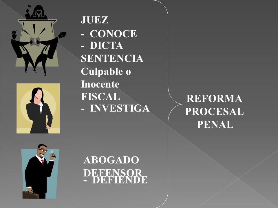 JUEZ - CONOCE. - DICTA SENTENCIA. Culpable o Inocente. FISCAL. REFORMA. PROCESAL. PENAL. - INVESTIGA.