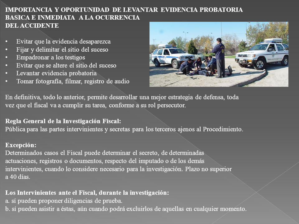 IMPORTANCIA Y OPORTUNIDAD DE LEVANTAR EVIDENCIA PROBATORIA