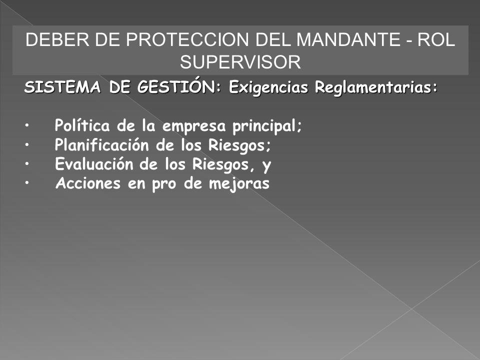 DEBER DE PROTECCION DEL MANDANTE - ROL SUPERVISOR