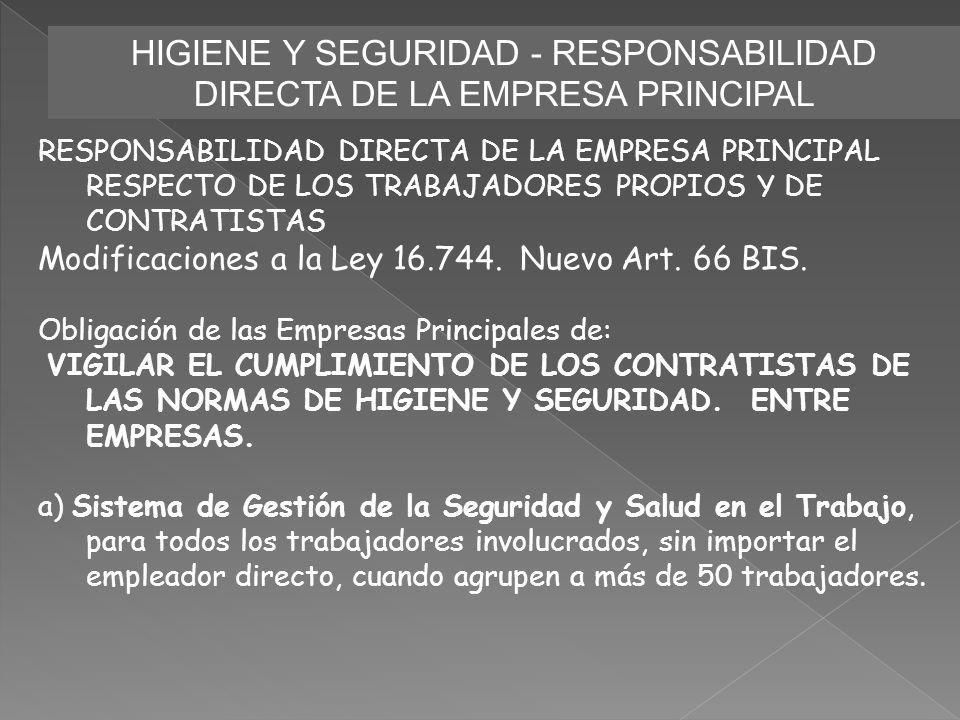 HIGIENE Y SEGURIDAD - RESPONSABILIDAD DIRECTA DE LA EMPRESA PRINCIPAL