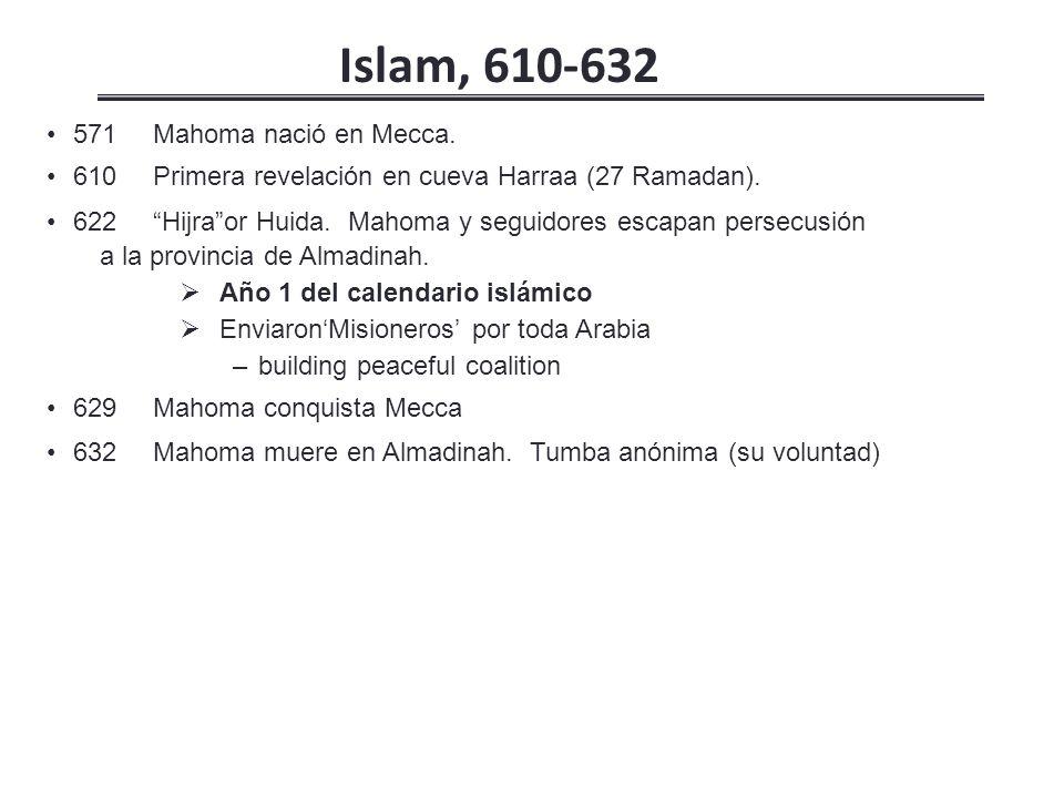 Islam, 610-632 571 Mahoma nació en Mecca.