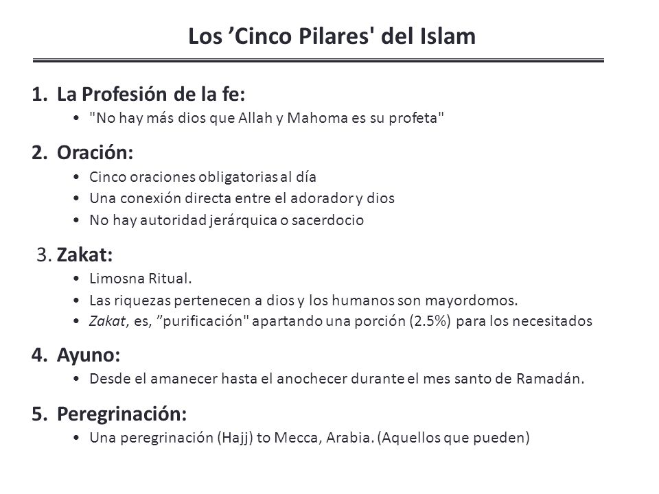 Los 'Cinco Pilares del Islam