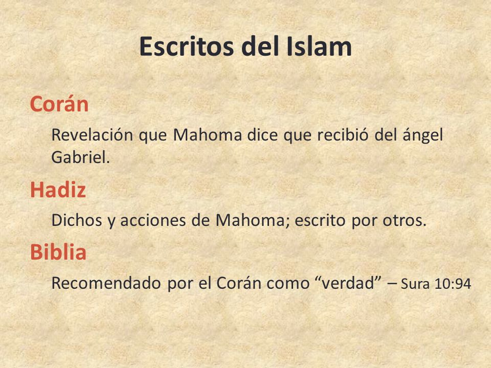 Escritos del Islam Corán Hadiz Biblia