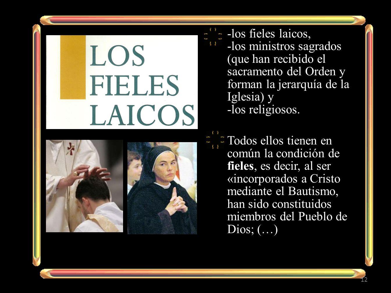 -los fieles laicos, -los ministros sagrados (que han recibido el sacramento del Orden y forman la jerarquía de la Iglesia) y -los religiosos.