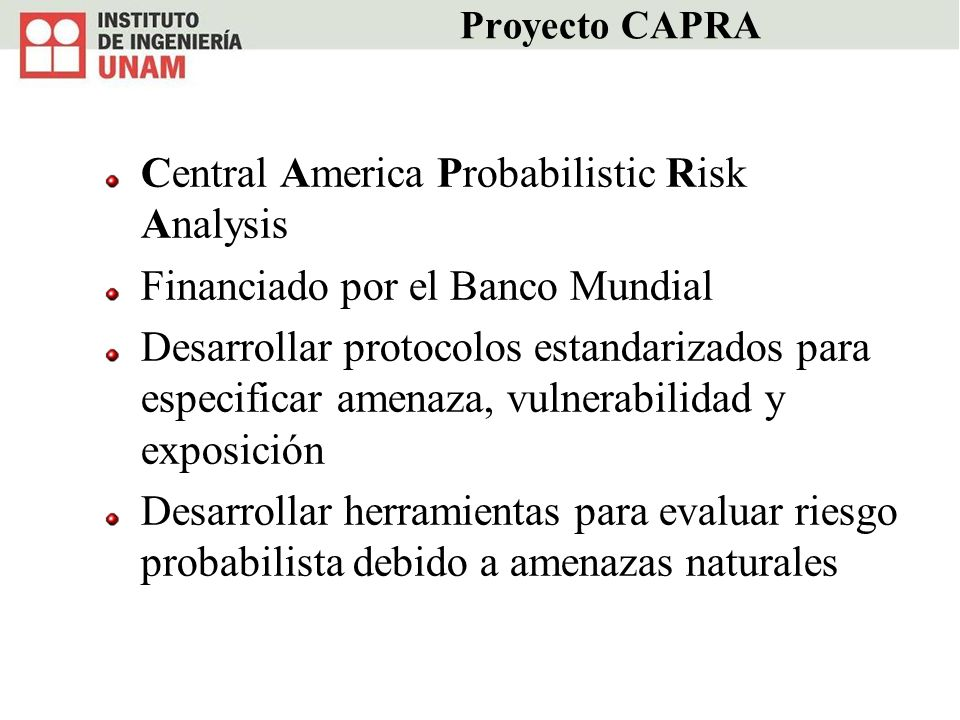 Central America Probabilistic Risk Analysis