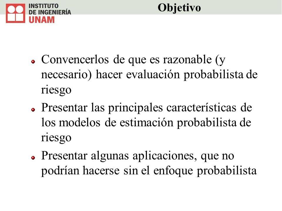 Objetivo Convencerlos de que es razonable (y necesario) hacer evaluación probabilista de riesgo.