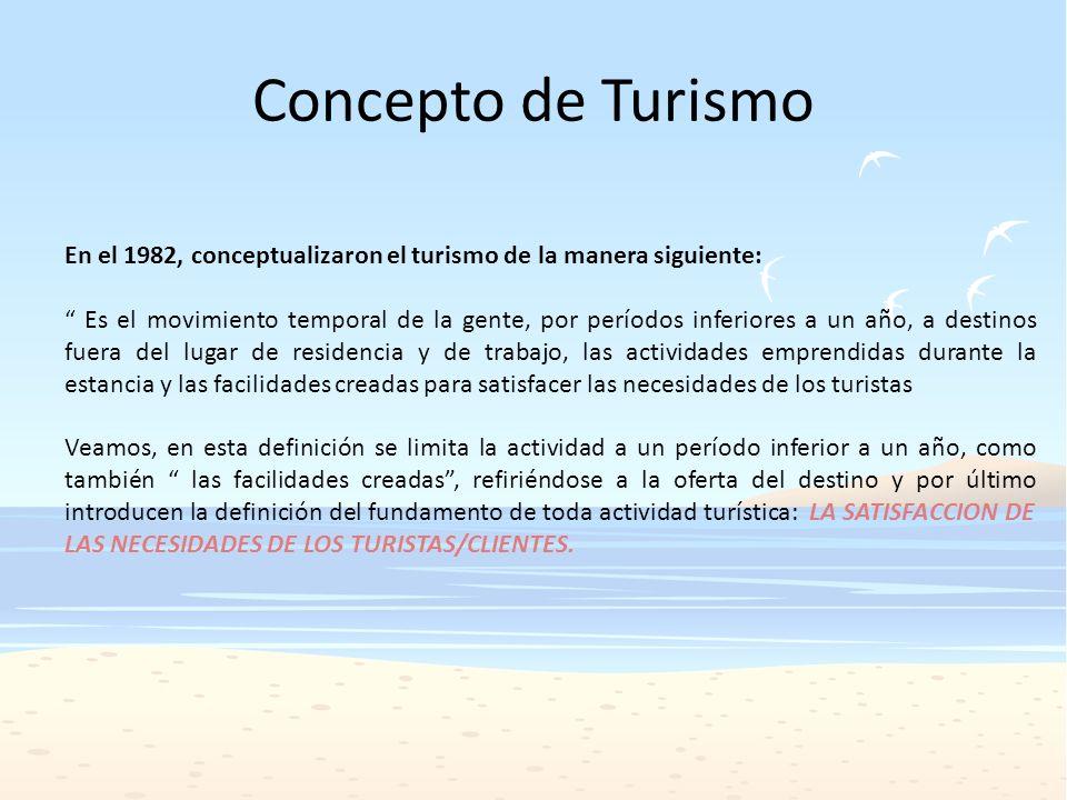 Concepto de Turismo En el 1982, conceptualizaron el turismo de la manera siguiente: