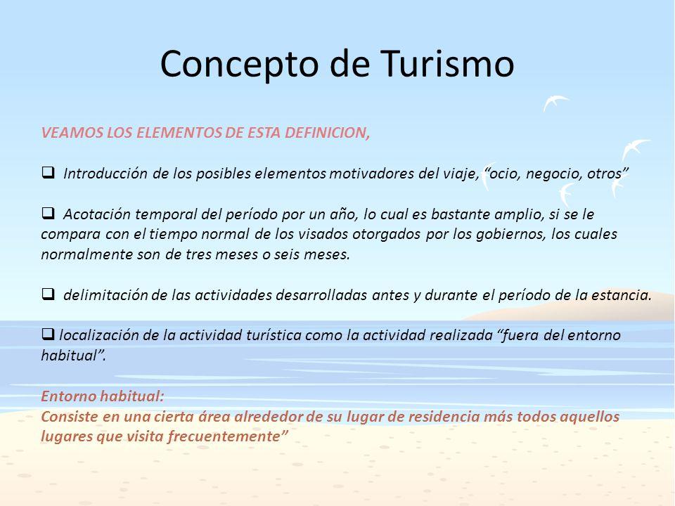 Concepto de Turismo VEAMOS LOS ELEMENTOS DE ESTA DEFINICION,