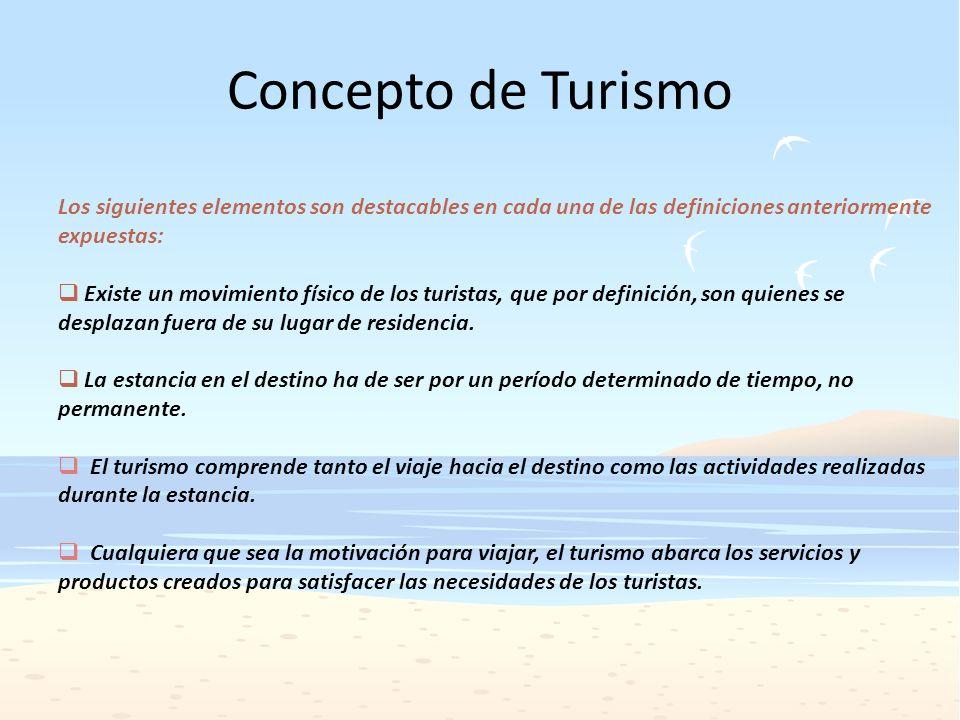 Concepto de Turismo Los siguientes elementos son destacables en cada una de las definiciones anteriormente expuestas: