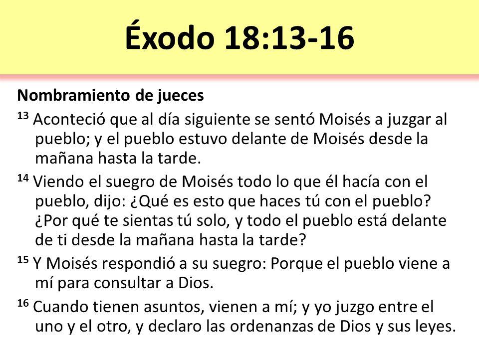 Éxodo 18:13-16 Nombramiento de jueces
