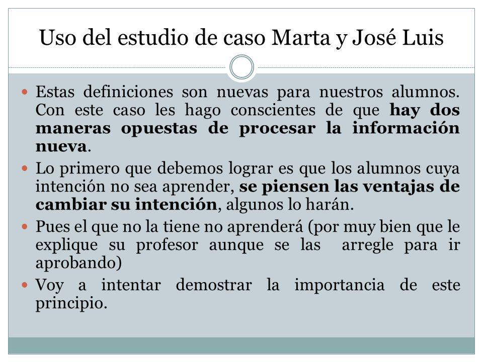 Uso del estudio de caso Marta y José Luis