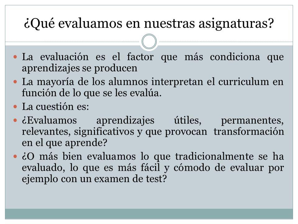 ¿Qué evaluamos en nuestras asignaturas