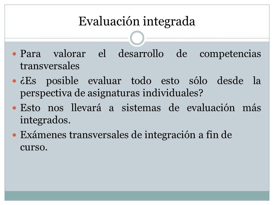 Evaluación integrada Para valorar el desarrollo de competencias transversales.