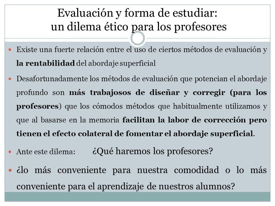 Evaluación y forma de estudiar: un dilema ético para los profesores