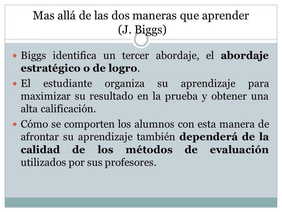 Mas allá de las dos maneras que aprender (J. Biggs)