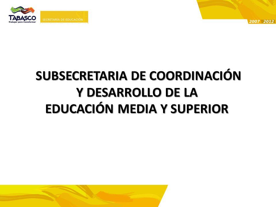SUBSECRETARIA DE COORDINACIÓN EDUCACIÓN MEDIA Y SUPERIOR